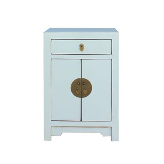 Oriental Off White Lacquer Round Moon Face End Table Nightstand