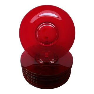Red Glass Chargers, Set of 10