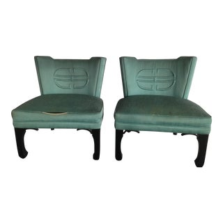 Mid-Century Asian Style Slipper Chairs - A Pair