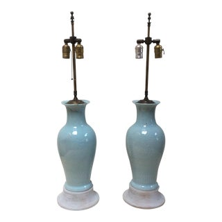 Blue Asian Porcelain Lamps - A Pair