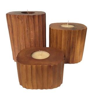Ridged Mango Wood Candleholders- Set of 3