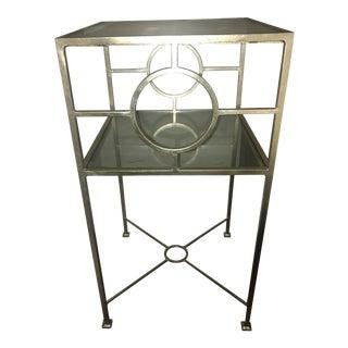 Silver Metal & Glass Top Nightstand