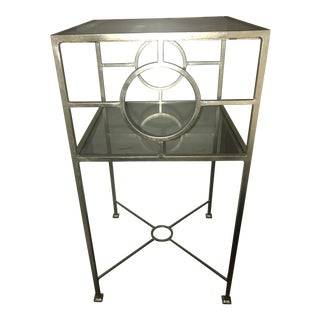 Silver Metal & Glass Top Nightstand