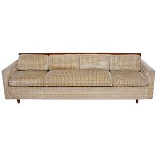 Baker Furniture Walnut & Down-Filled Velvet Sofa.