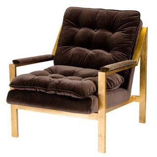 Gold and Tufted Velvet Chair