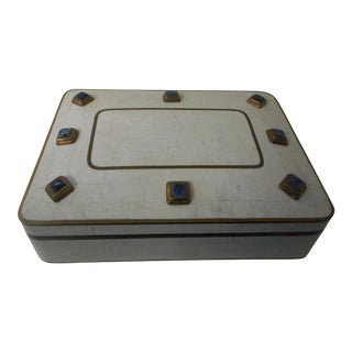 Hollywood Regency Lapis and Brass Tiled Box