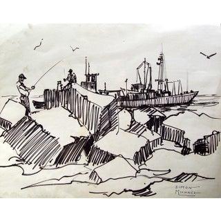 Simon Michael 'Fishing at Rockport, Texas' Drawing