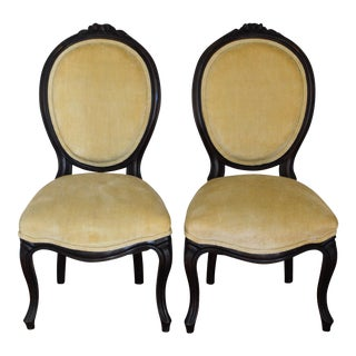 Antique Petite Medallion Boudoir Side Chairs - a Pair