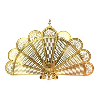 Vintage Retractable Brass Fireplace Screen