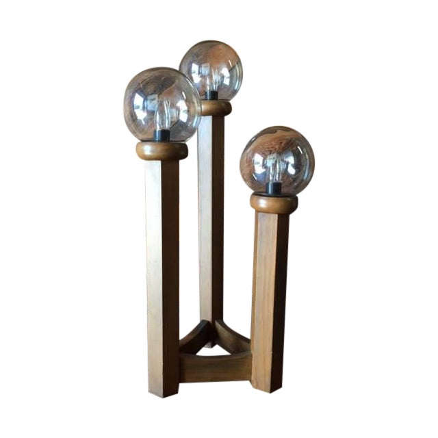 Image of Vintage 1970s Cascading Walnut Table Lamp