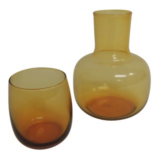 Vintage Amber Glass & Water Carafe Set - A Pair