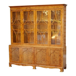 Swedish Art Deco Golden Flame Birch Vitrine, 1920s