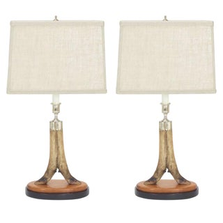 Vintage Pair of Deer Hoof Table Lamps