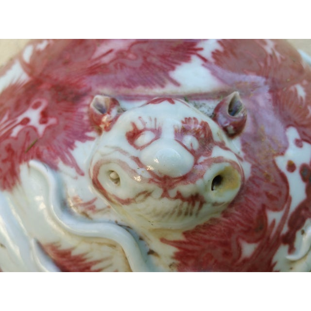 Image of Vintage Chinese Red Flambe Dragon Relief Vase