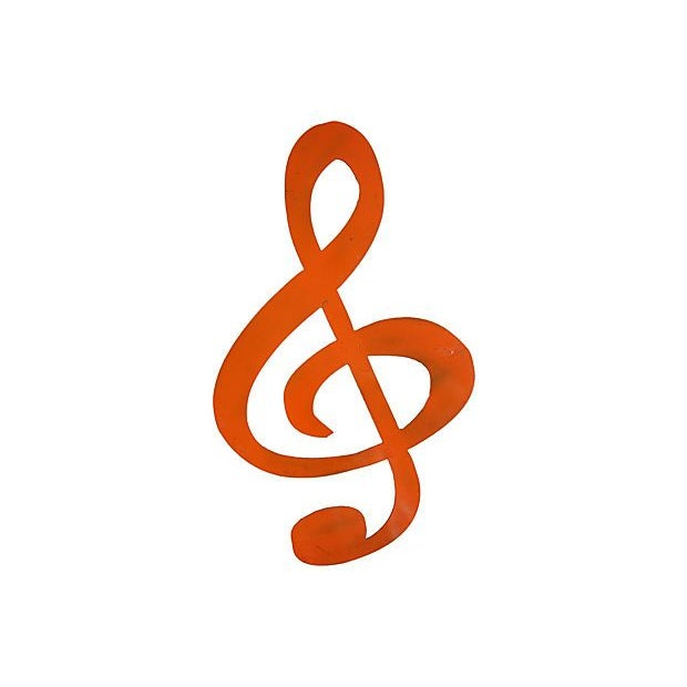 Image of Large Tangerine Metal Musical Note