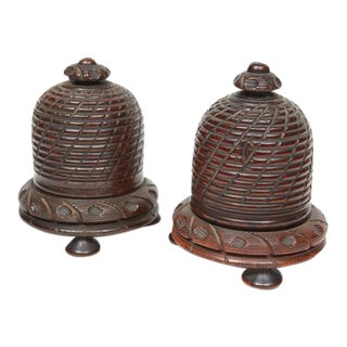 Hand Carved Wood Beehive String Holders