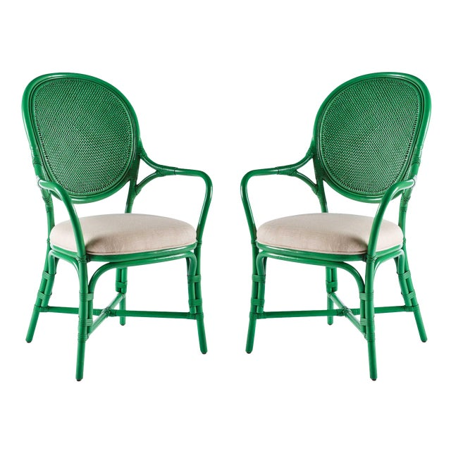 Selamat Designs Parsley Dahlia Arm Chairs - A Pair - Image 1 of 6