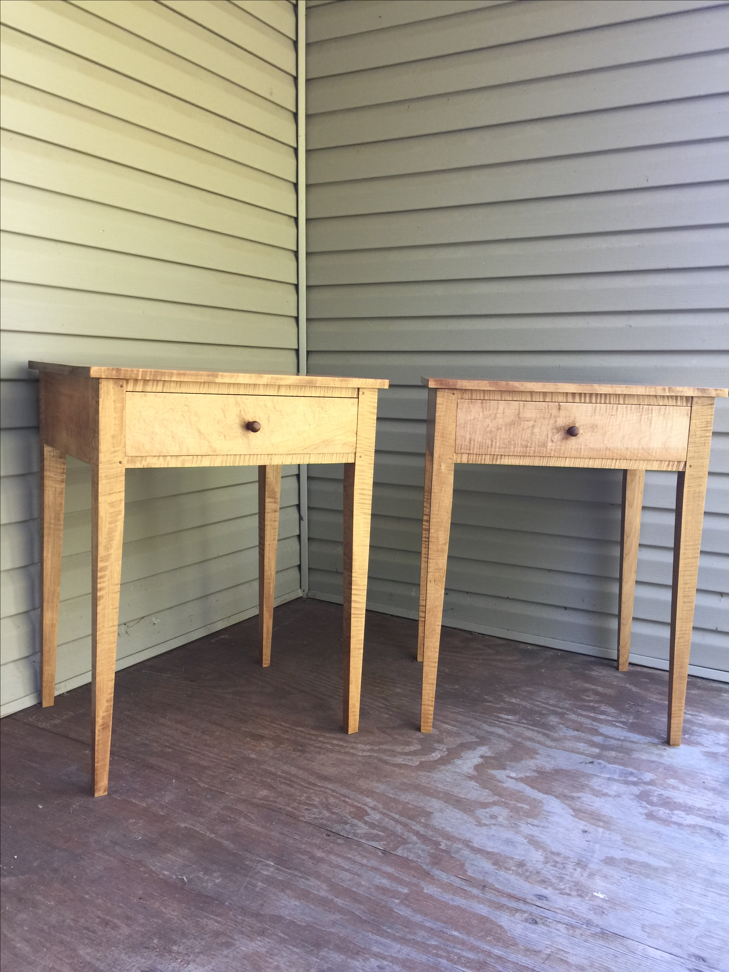 Shaker Style Tiger Maple Side Tables   A Pair   Image 2 Of 6