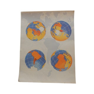 Colorful World Globe Lithograph Print