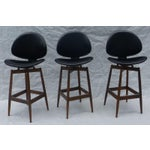 Image of 1960's Clam Shell Koda Wood Bar Stools