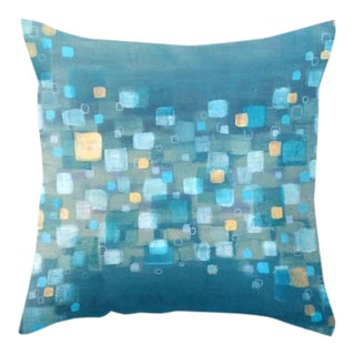 Blue Abstract Painting Art Throw Pillow
