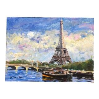 Original Eiffel Tower Paris Painting by Nino Pippa