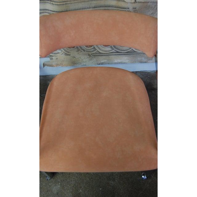 Peach Blush Dia Chrome Modernist Chairs - Pair - Image 7 of 11
