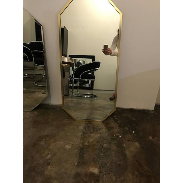 Image of Mid-Century Modern Decorative Brass Framed Octagon Shaped Mirror