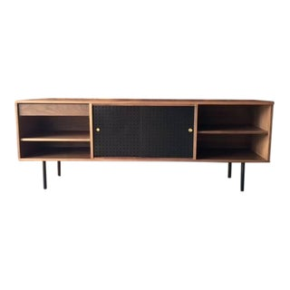 Mid-Century Style Walnut Credenza with Perforated Doors