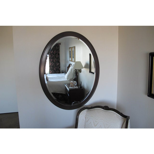 Dark mahogany oval custom made mirror chairish for Custom made mirrors