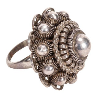 Sterling Silver Ball Ring - Size 6