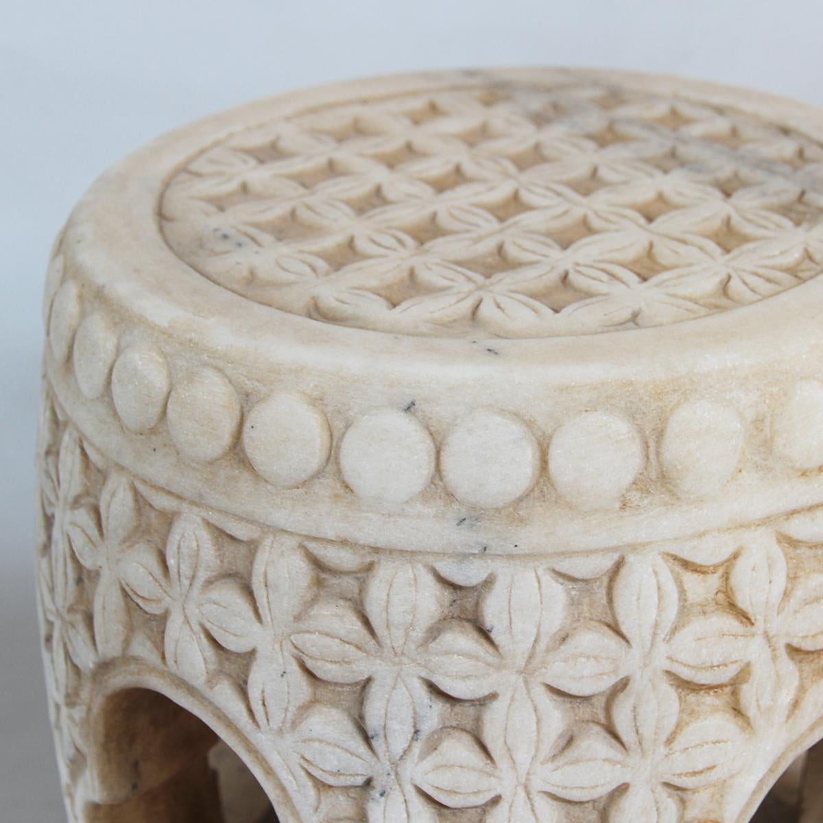 image of white marble garden stool