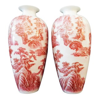 H.Painted Pair of Chinese Famille Rose Porcelain Vases