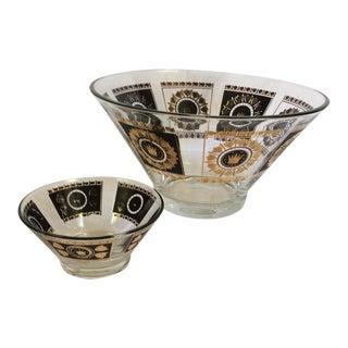 Mid-Century Black & Gold Chip & Dip Bowls