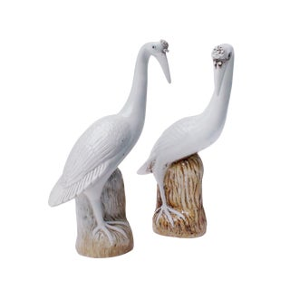 18th Century Porcelain Herons - A Pair