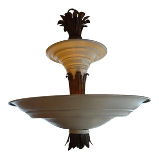 French Art Deco Tole & Bronze Chandelier