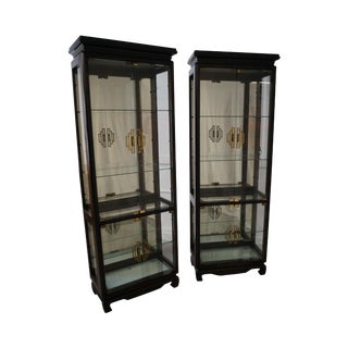 Asian Modern Glass Curio Display Cabinets - A Pair