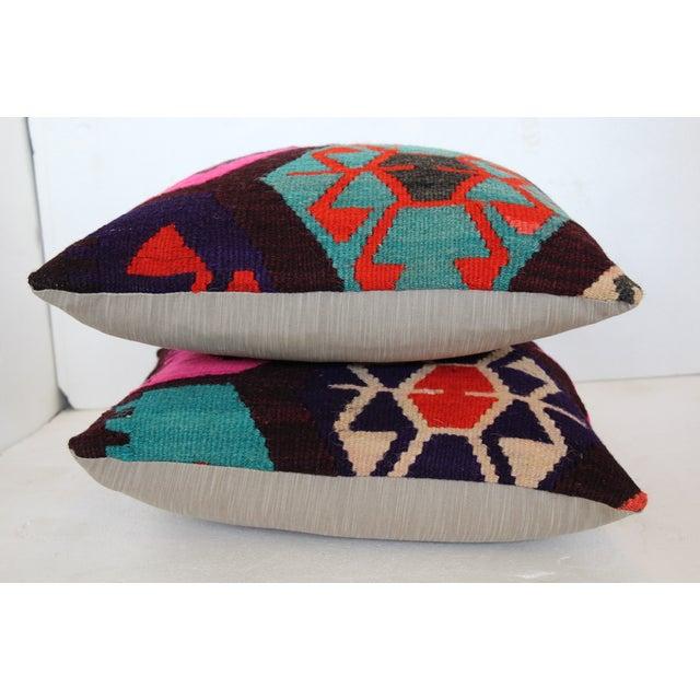 Neon Turkish Kilim Cushions - Pair - Image 6 of 7