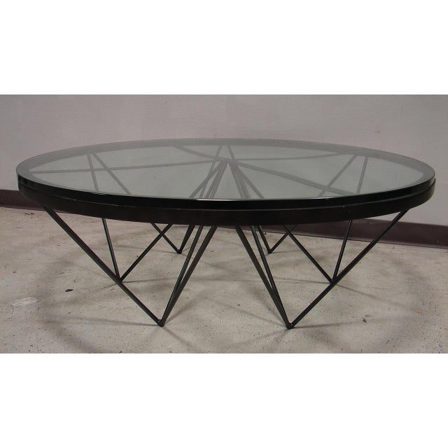 Image of Mid-Century Modern Iron Base Glass Top Table