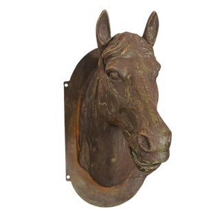 Cast Iron Horse Head Wall Decoration from the Mid-20th Century