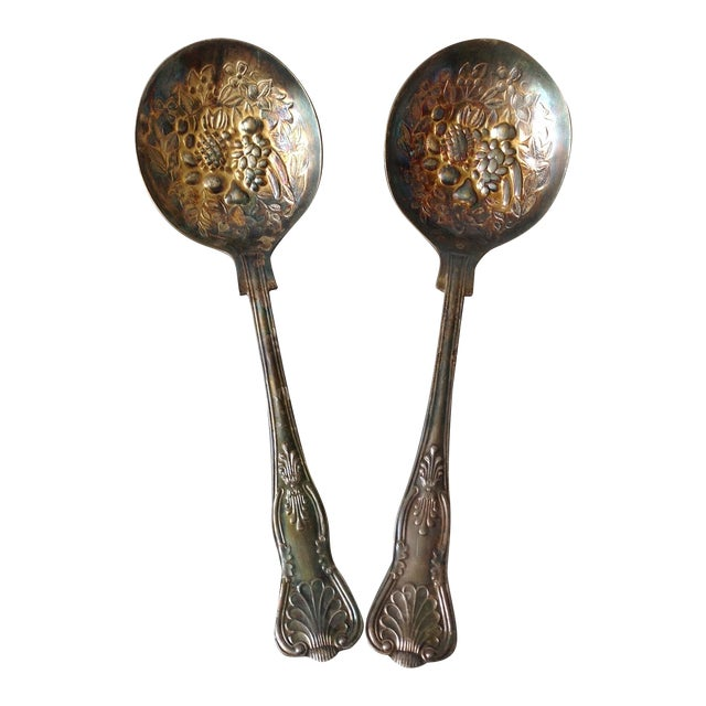 Image of English Silver Plated Berry Servings Spoons - Pair