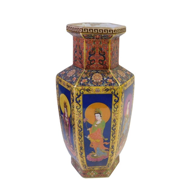 Hexagonal Porcelain Buddha Vase - Image 2 of 6