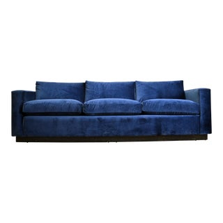 Paul Evans Blue Velvet And Mirrored Chrome Sofa