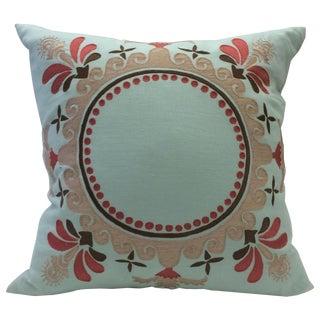 "22"" Square Tourmaline Home Linen Folk Pillow Cover"
