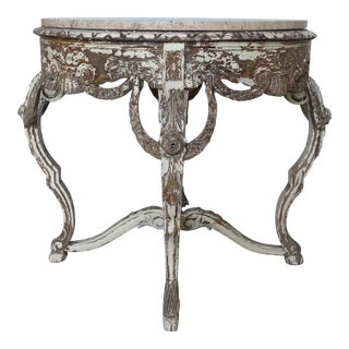 French Carved Wood LouisXV Style Table with Marble Top