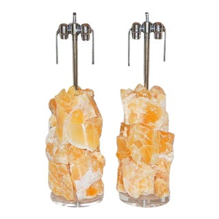 Rock Candy Orange Calcite Table Lamps
