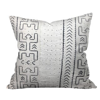 African White Mudcloth Tribal Pillow