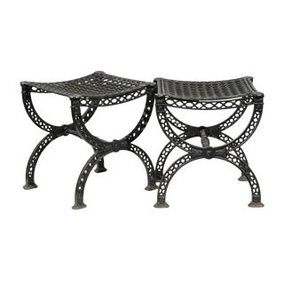Pair of French 20th Century Belle Epoque Style Iron Garden Stools