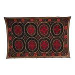 Vintage Red Flowers Silk & Cotton Suzani Textile