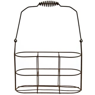 French Wire Wine Bottle Carrier With Coiled Handle